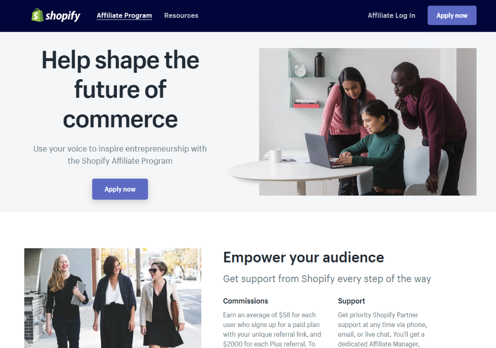Shopify Affiliate Program Landing Page (Screenshot)