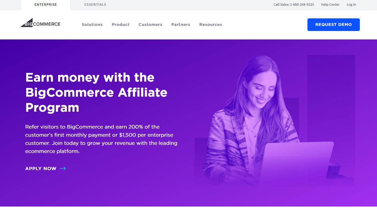 BigCommerce Affiliate Program Landing Page (Screenshot)