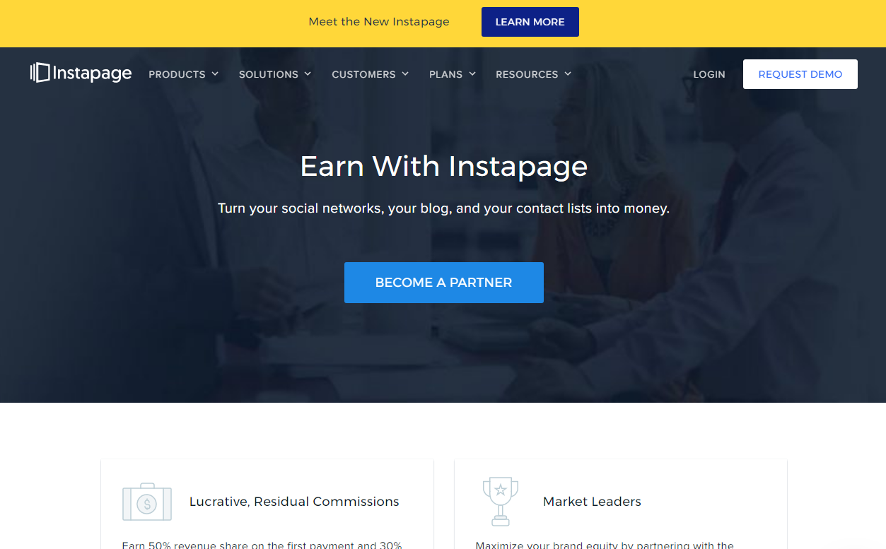 Instapage Affiliate Program Landing Page (Screenshot)