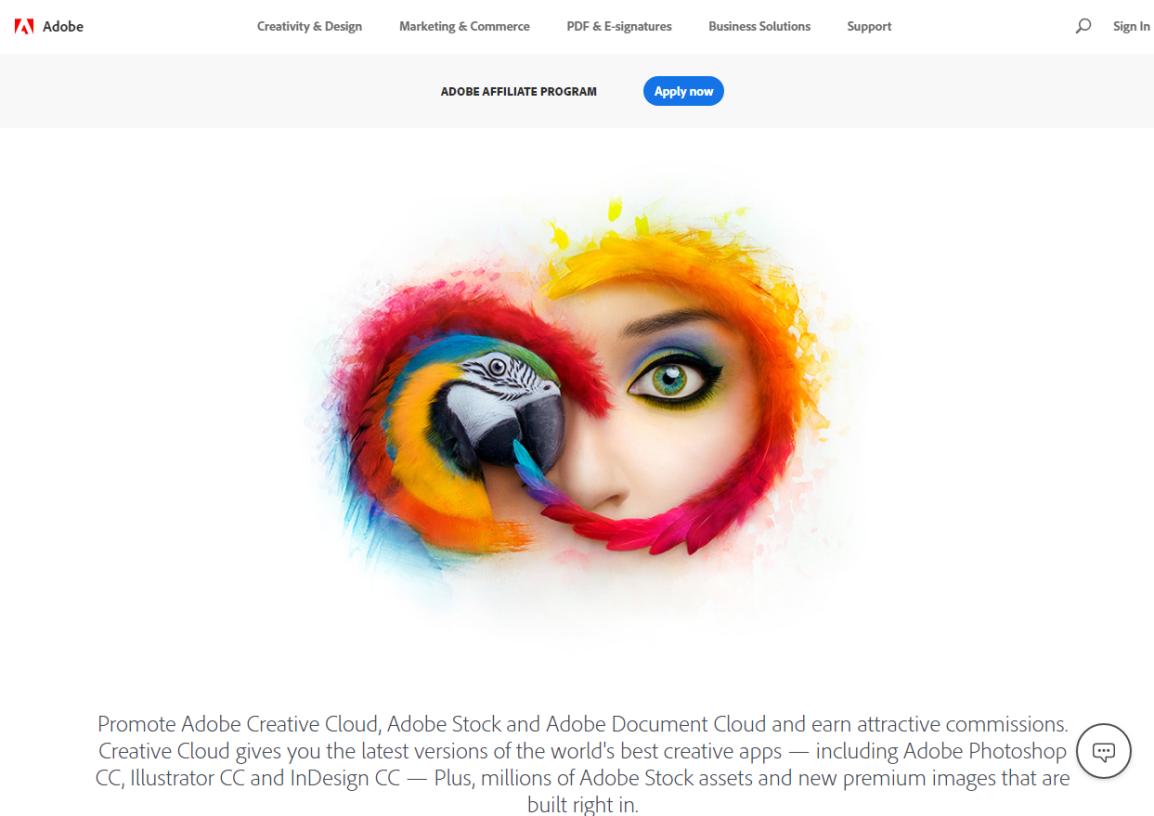 Pagina di destinazione del programma di affiliazione Adobe (schermata)