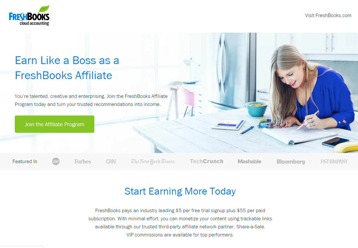 Freshbooks Affiliate Program Landing Page (Screenshot)