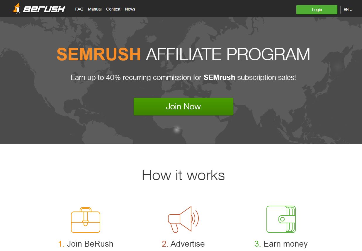 SEMRush Affiliate Program Landing Page (Screenshot)
