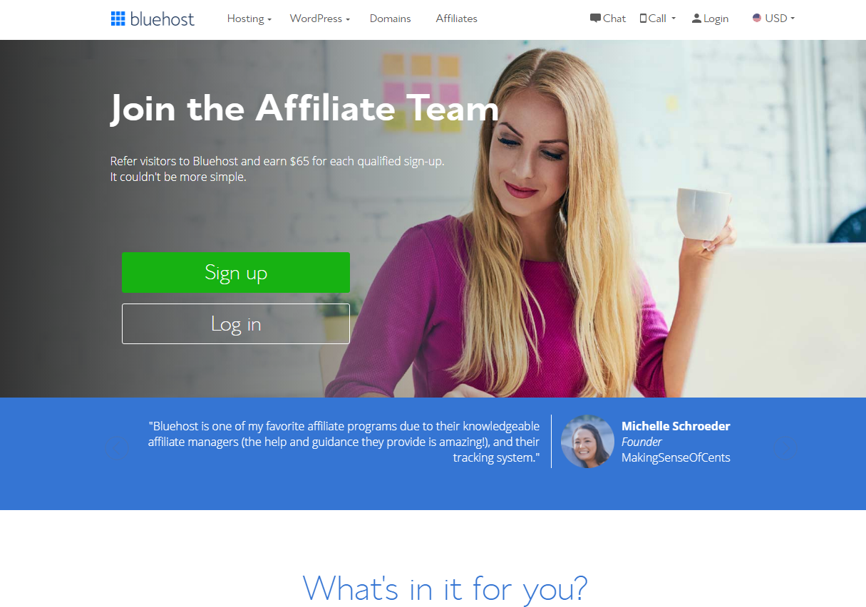 Bluehost Join the Affiliate Program (Website Screenshot)