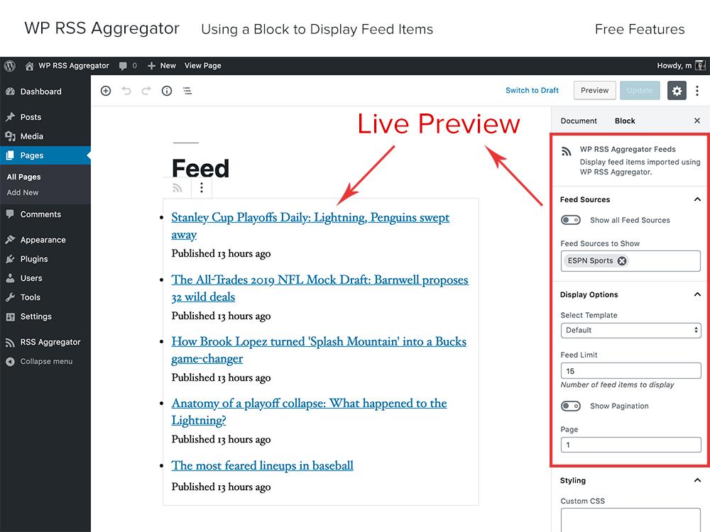 RSS Aggregator Screenshot Example