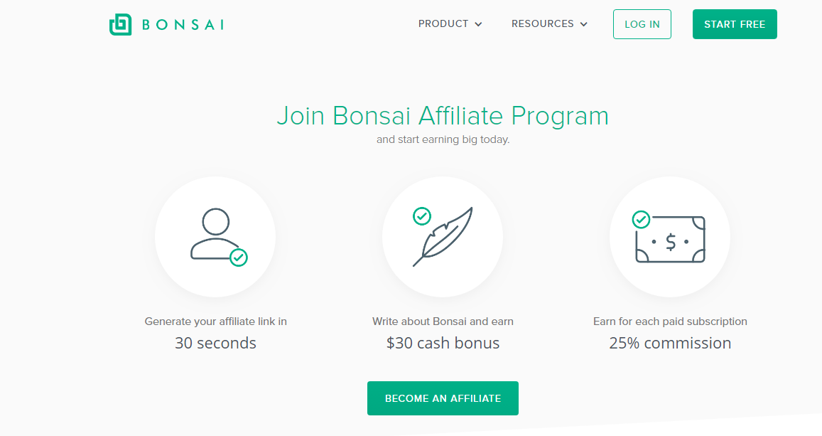 Bonsai Affiliate Program Landing Page (Screenshot)