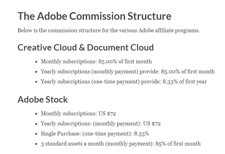 Adobe Affiliate Payout Rates (Screenshot) and Graphic
