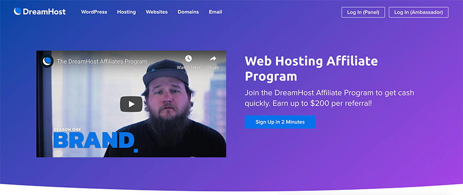Dreamhost Affiliate Program Homepage Screenshot