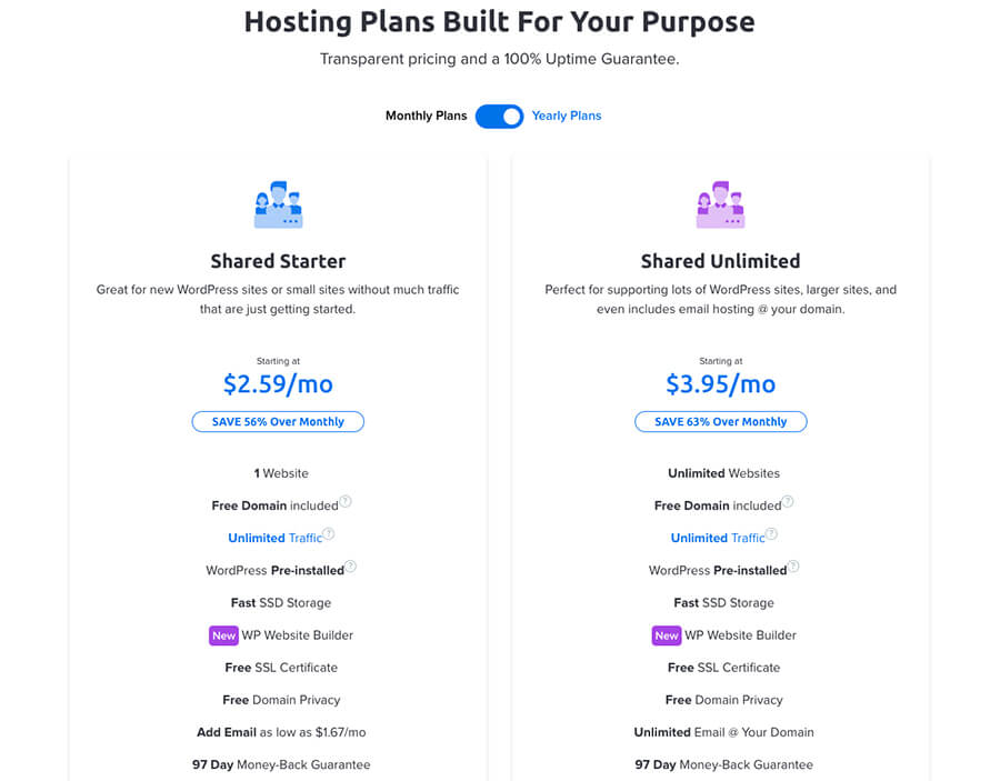 Dreamhost's Best Web Hosting Plans Pricing Comparison Screenshot