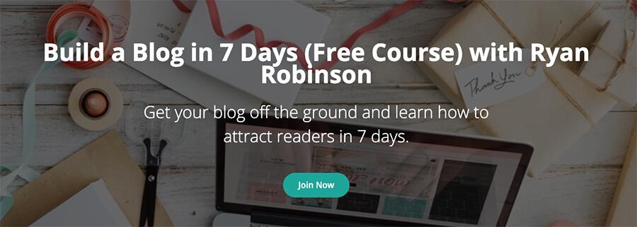 Corso di blogging gratuito per creare un blog in 7 giorni con Ryan Robinson