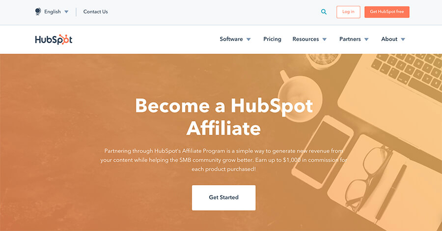 HubSpot Affiliate Program Homepage Screenshot