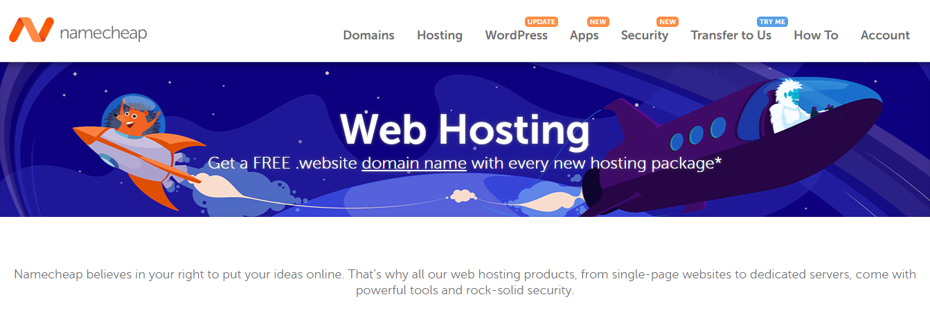 Namecheap Best Web Hosting Plans (and Cheapest Hosting) Homepage Screenshot