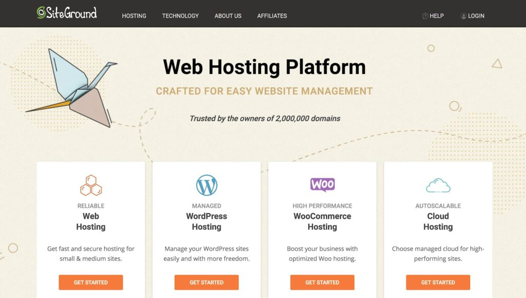 SiteGround Web Hosting Plans Homepage Hero Screenshot