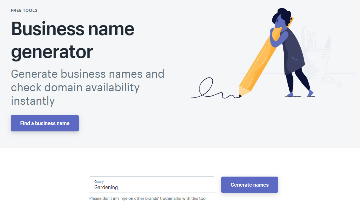 Shopify's Business Name Generator Tool