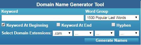 NameStall Domain Generator Tool Screenshot