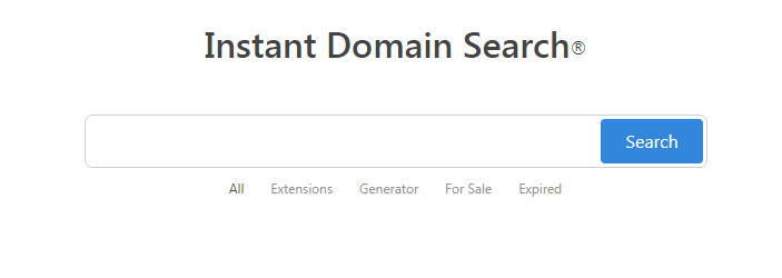 Instant Domain Search Generator Homepage