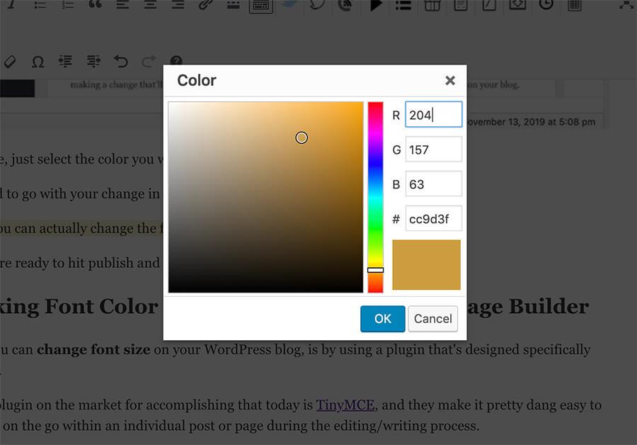Regolazione del colore del testo con codice esadecimale per ottenere colori personalizzati