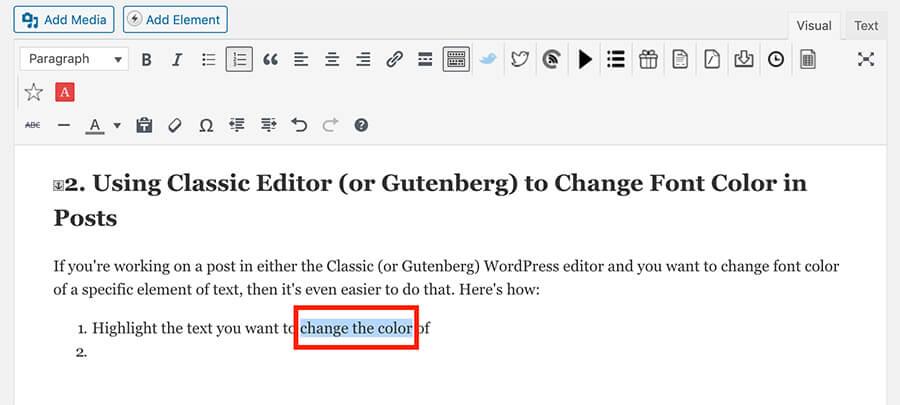 Cambia colore carattere nei post di WordPress (Editor)