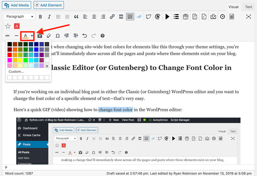 Impostazioni colore carattere in WordPress Editor
