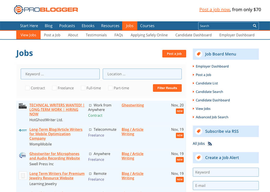 ProBlogger Job Board Content Writers How Much it Costs to Start a Blog