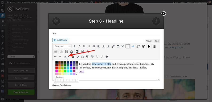 Utilizzo di un Page Builder per modificare il colore del testo nella schermata di WordPress