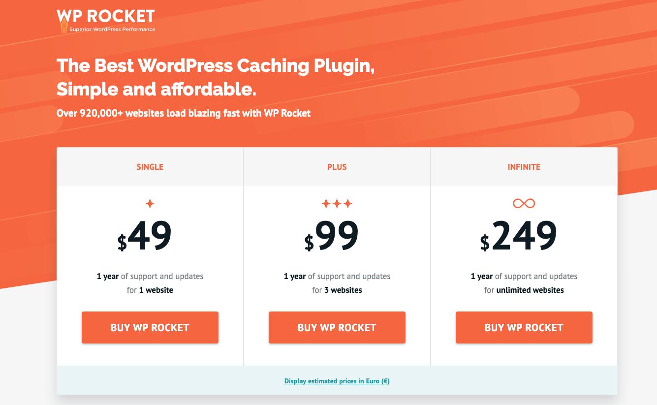 WP Rocket Plugin Cost to Start a Blog