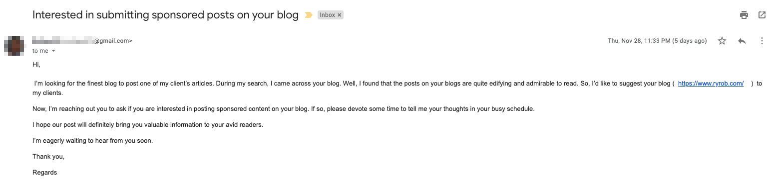 Bad Blog Outreach Email Example of No Personalization and Poor Formatting