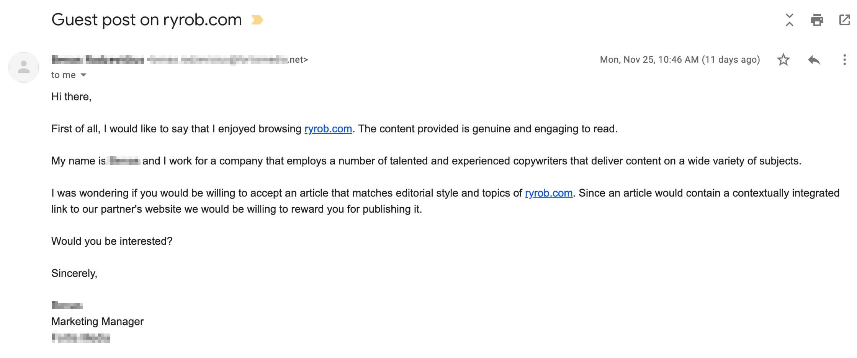 Bad Outreach Email Example Teardown