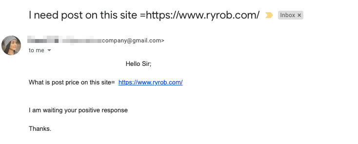 Blog Outreach Email Example Terrible with Bad Formatting Screenshot
