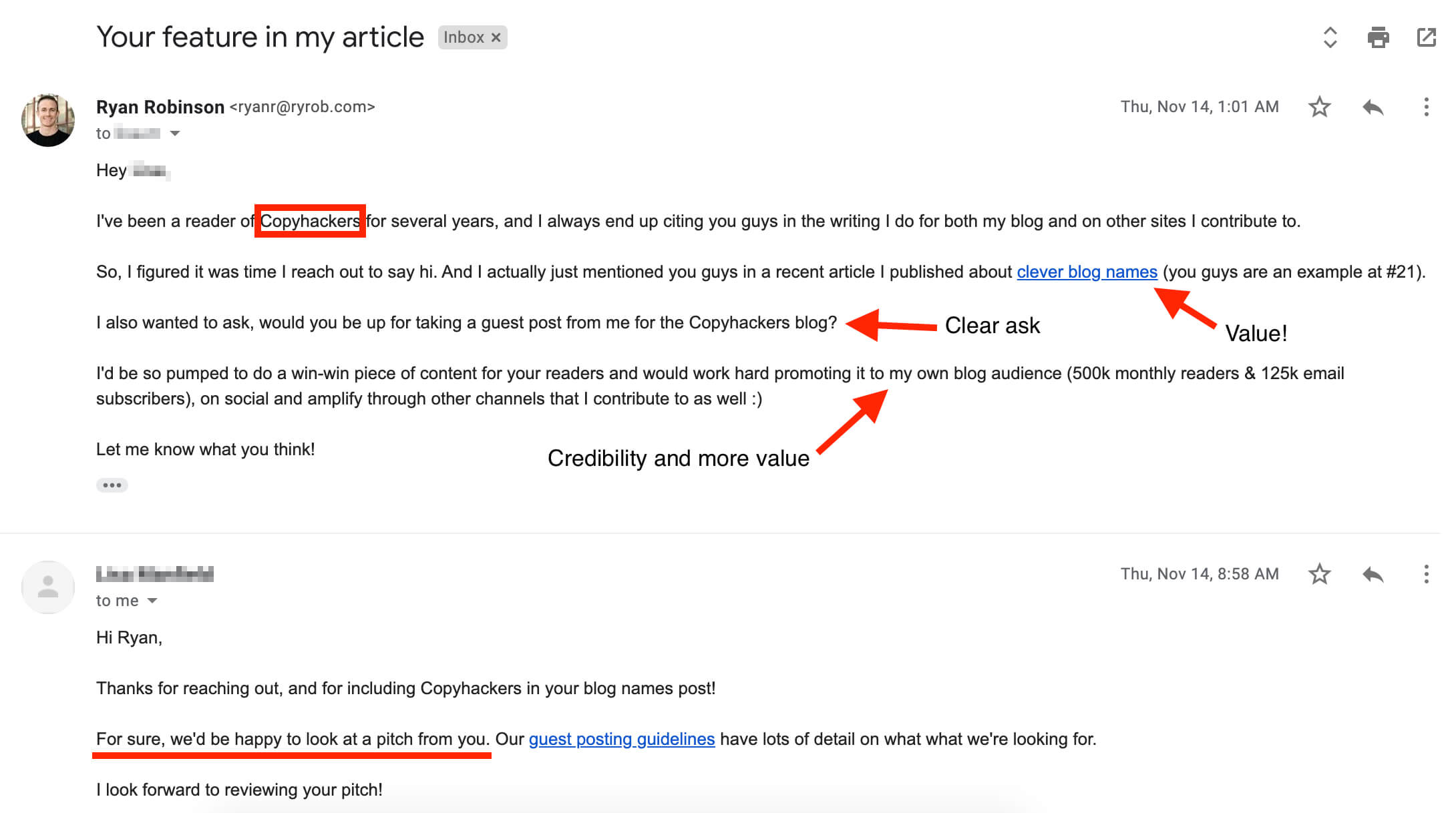 Copyhackers blog outreach email template example and screenshot