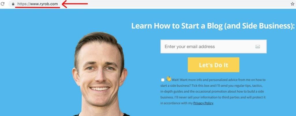Come scegliere il nome di dominio giusto per il tuo blog Esempio di homepage di Ryan Robinson