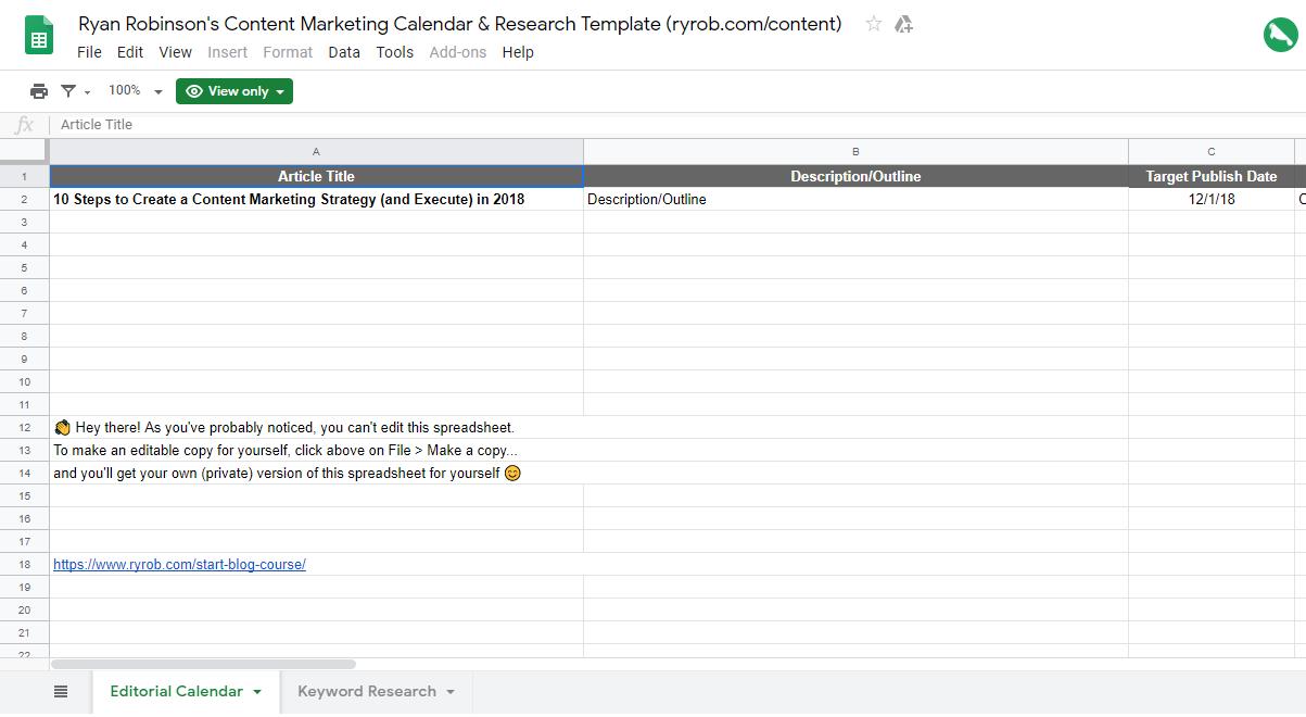 Come sviluppare una strategia di contenuto (Calendar Screenshot Google Doc) in un blog Business Plan