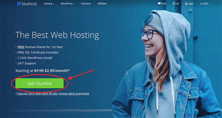 Hosting Bluehost per rendere il tuo blog online (Bluehost Homepage)