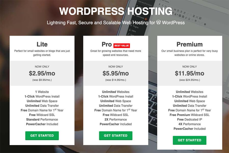 GreenGeeks WordPress Hosting Plans Pricing Breakdown and Screenshot