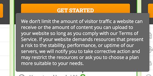 HostPapa Notification No Limit to Website Traffic