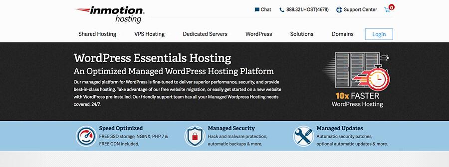 InMotion Web Hosting Company Homepage Screenshot
