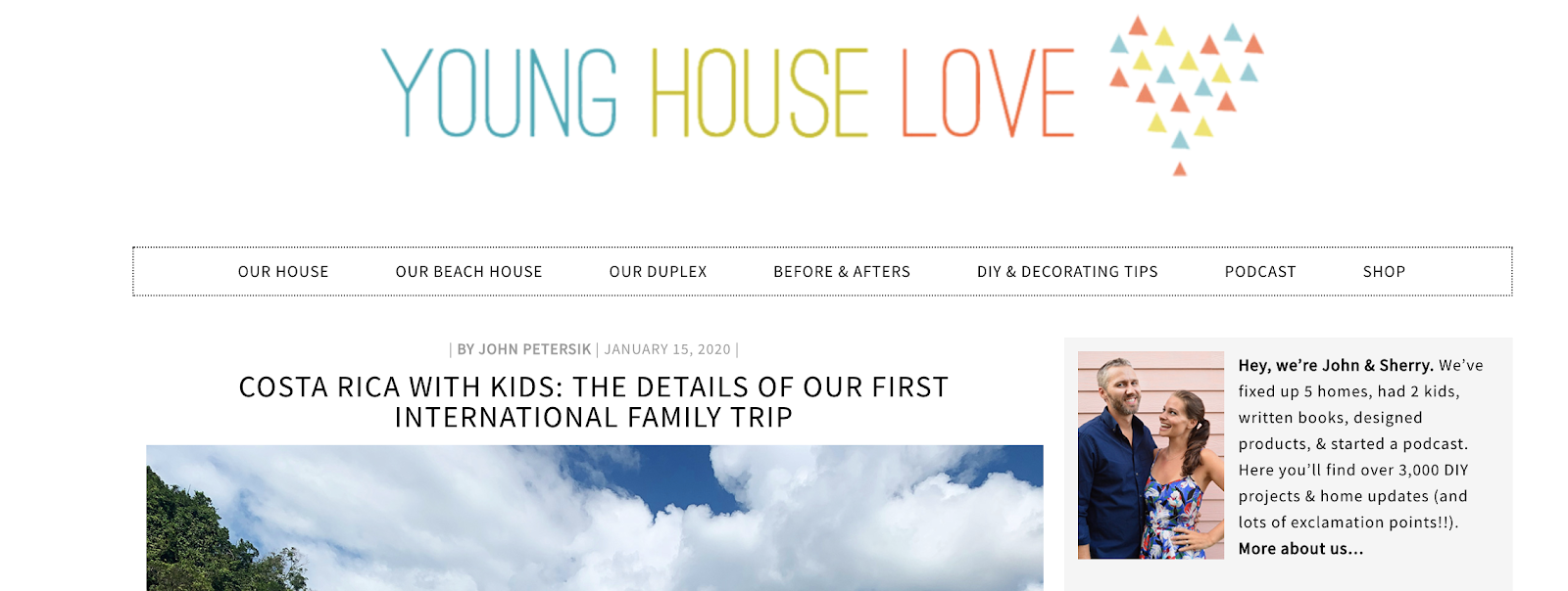 Young House Love Homepage and Blog Niche Example