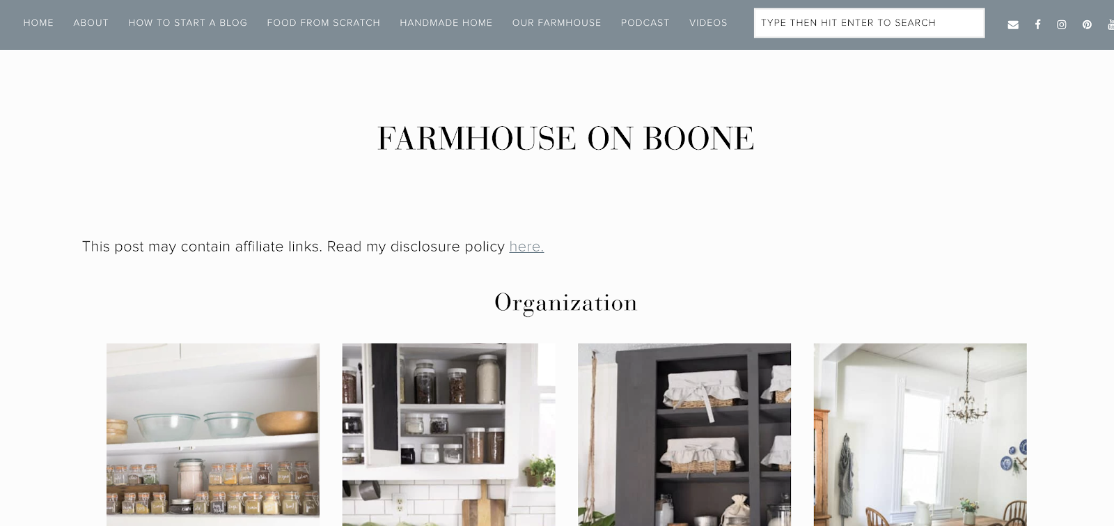 Farmhouse on the Boone Homepage Screenshot and Example of Home and Wellness Niche
