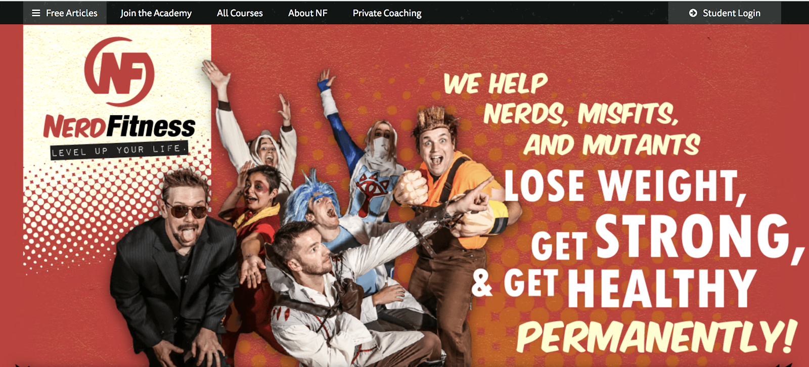 Schermata della home page di Nerd Fitness (esempio di nicchia)