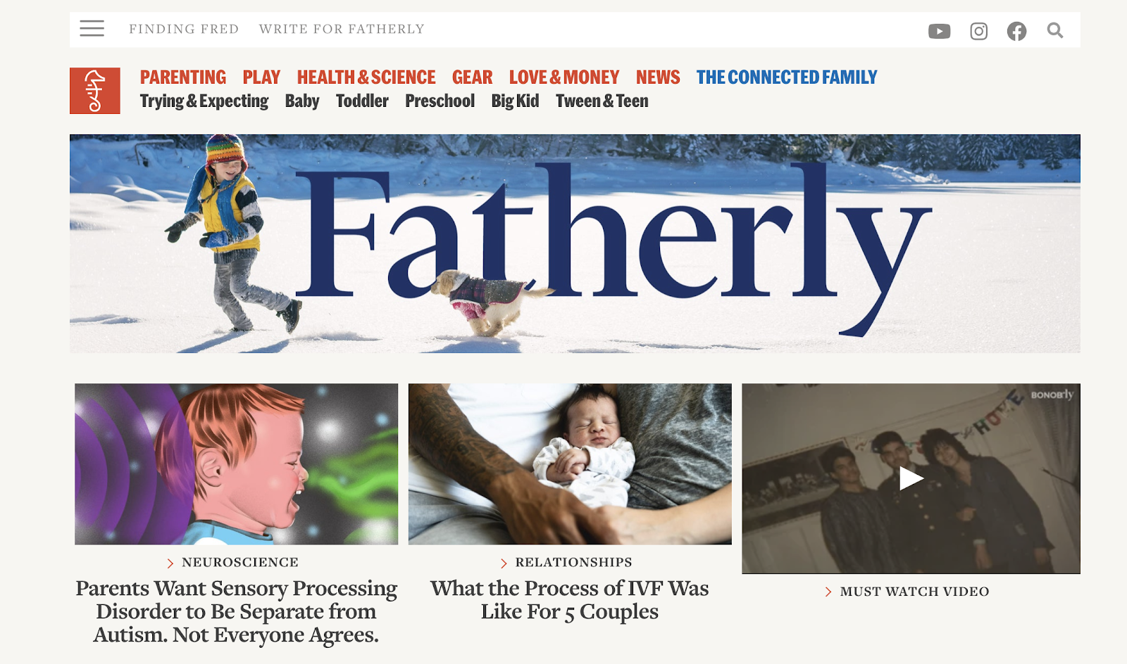 Fatherly Homepage Screenshot (Parenting Blog Example)