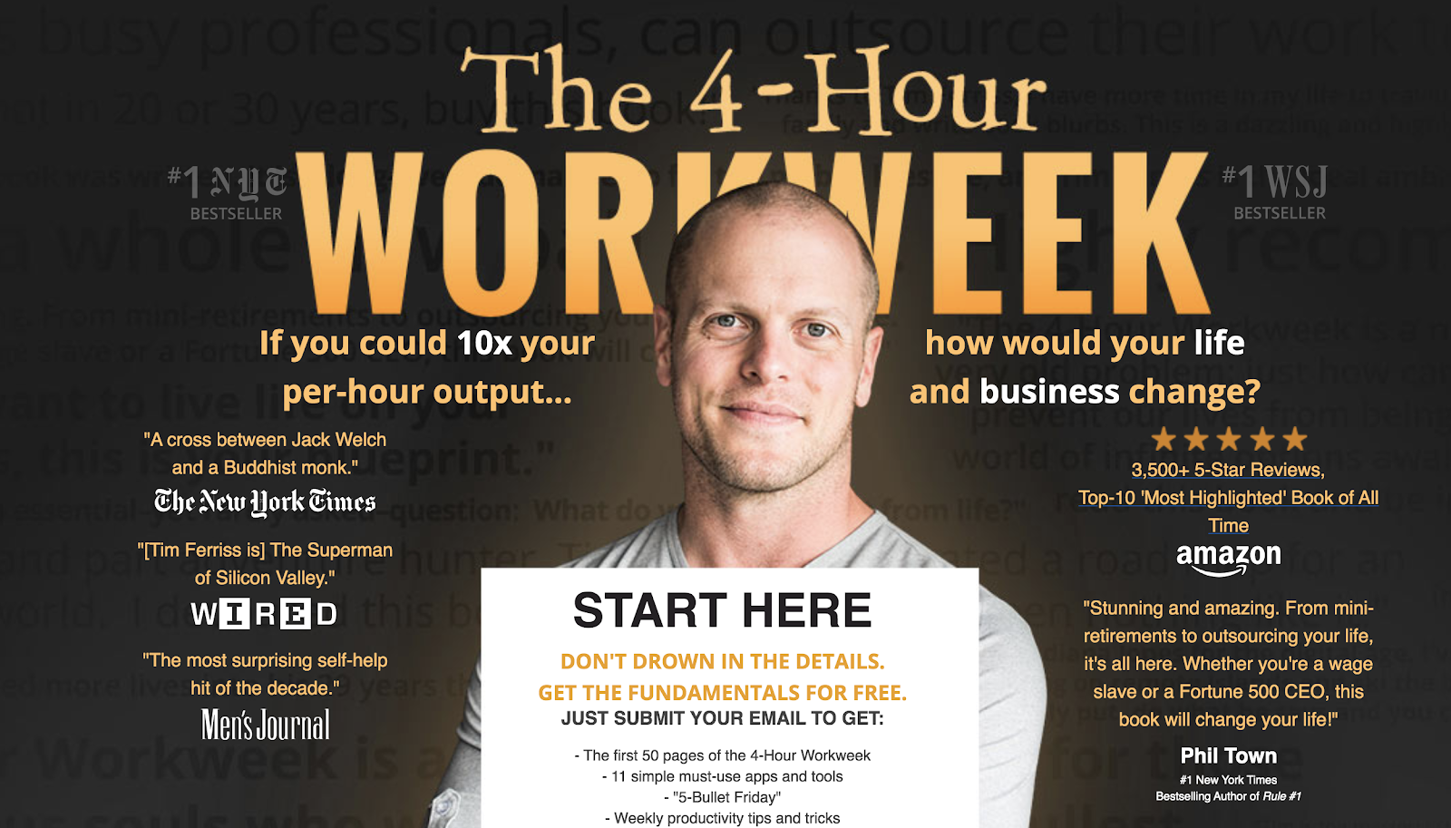 Esempio di nicchia del blog della settimana di lavoro di quattro ore di Tim Ferris per imprenditori su Internet