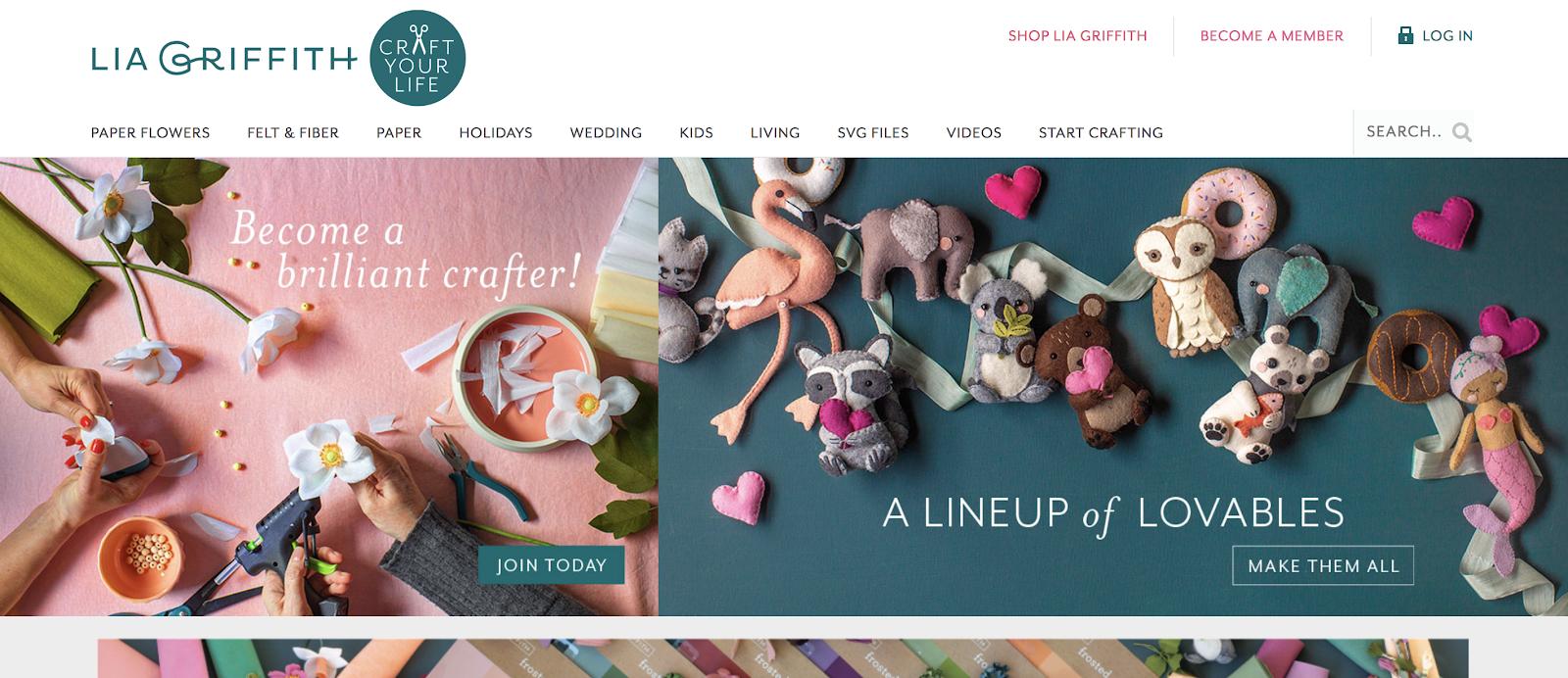 Schermata della homepage di Lia Griffith