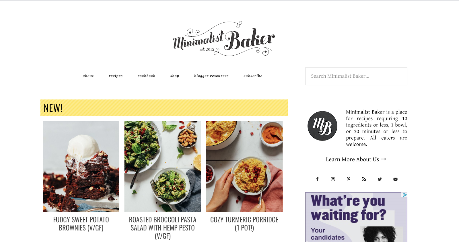 Minimalist Baker Homepage Screenshot and Example of a Great Blog Name
