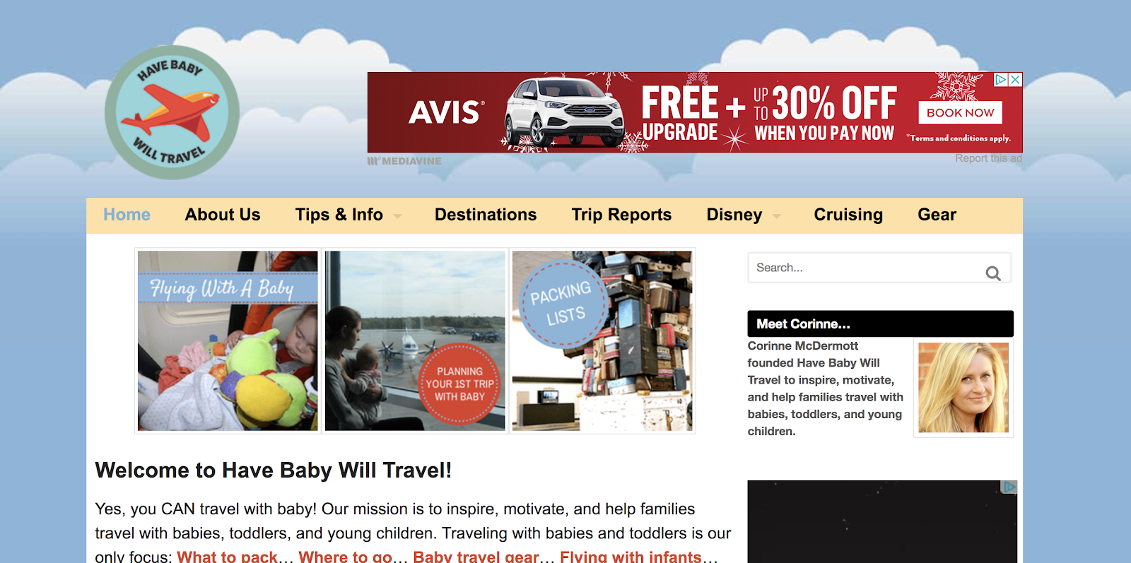 Have Baby Will Travel Parenting Blog Name Example (Screenshot)
