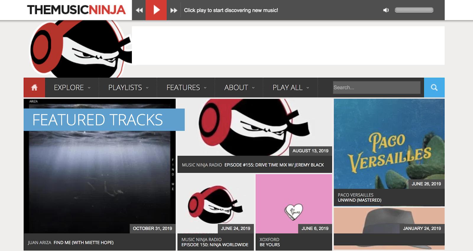 The Music Ninja Blog (schermata iniziale)