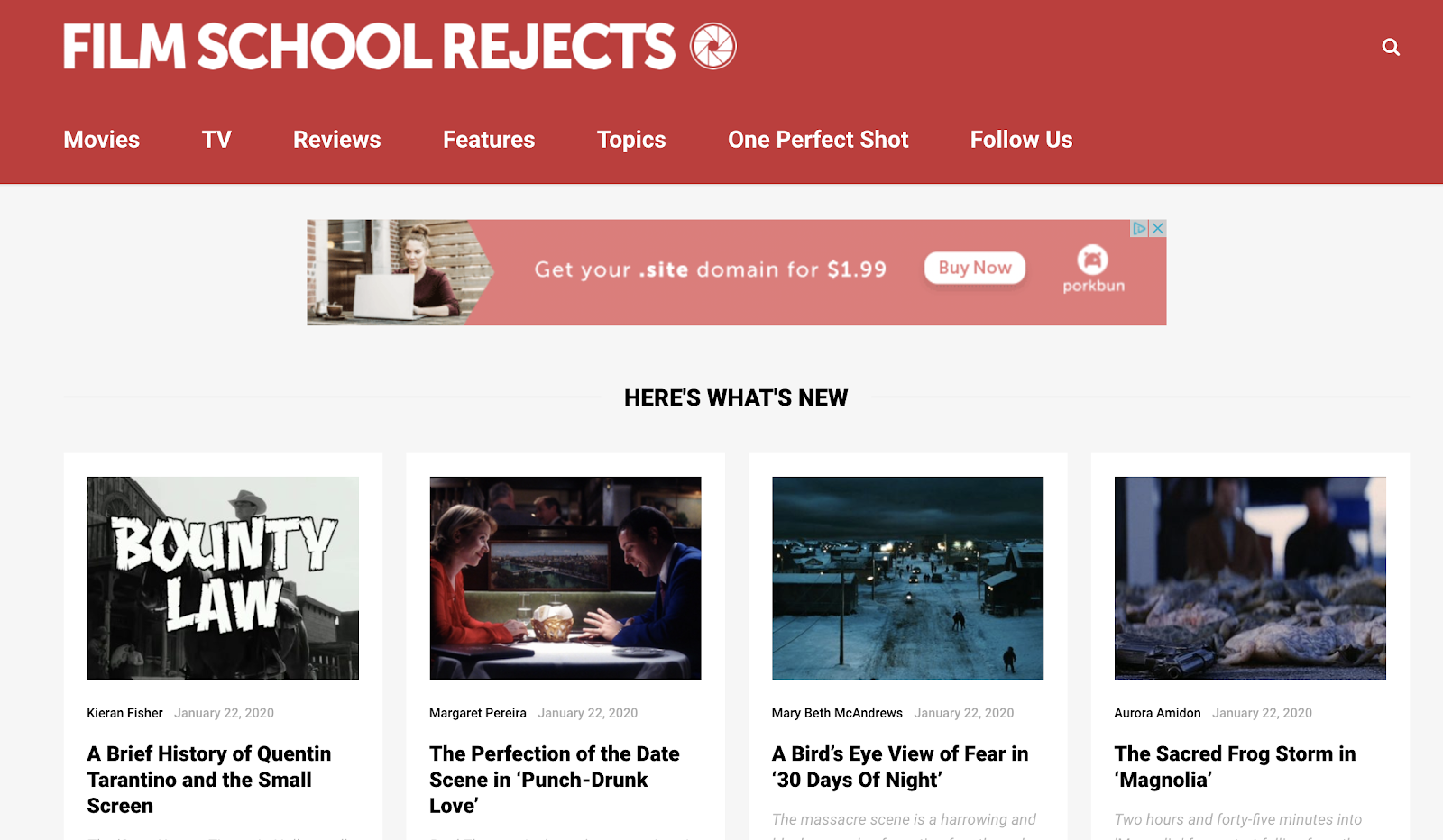 Film School Rejects (Screenshot) and Example of How to Name a Blog Creatively