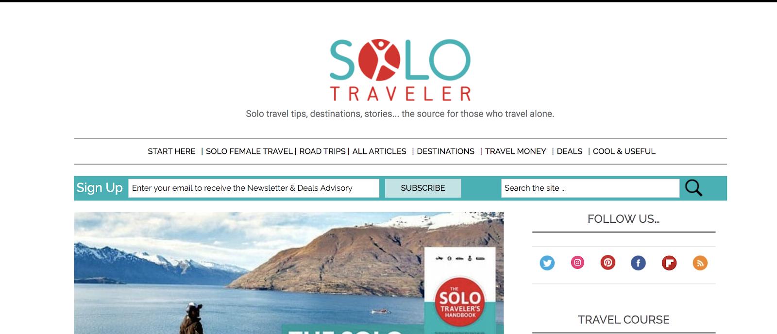 Esempio di blog per viaggiatori singoli (schermata)