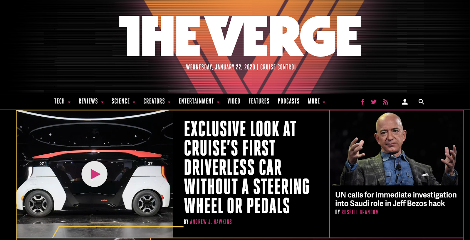 The Verge Technology Blog (Screenshot) of Homepage and Examples