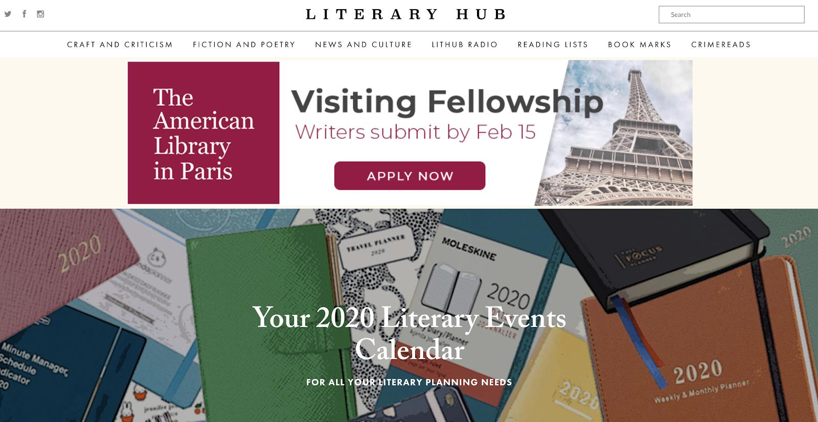 Esempio di schermata della homepage dell'hub letterario