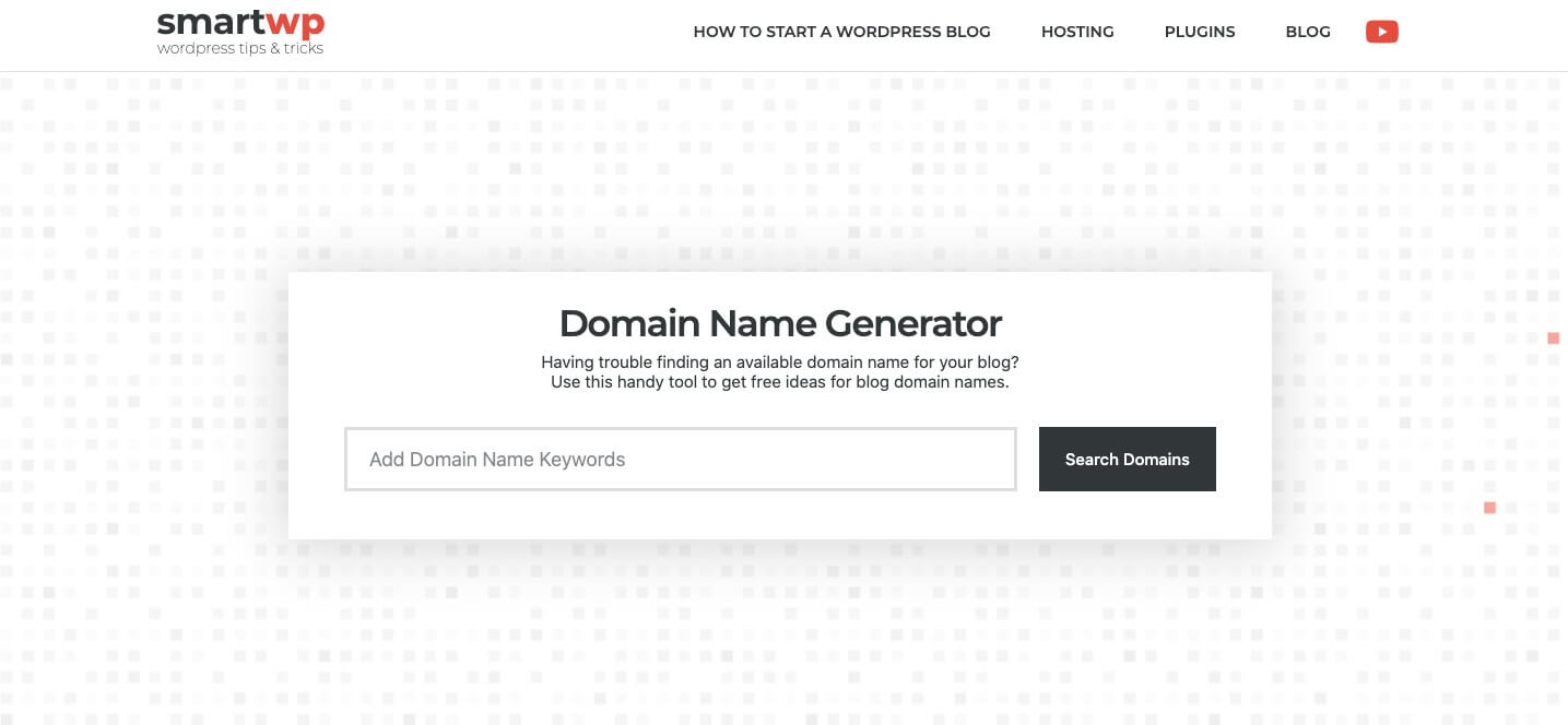 Domain Name Generator by SmartWP (Screenshot) to Get Domain Name Ideas