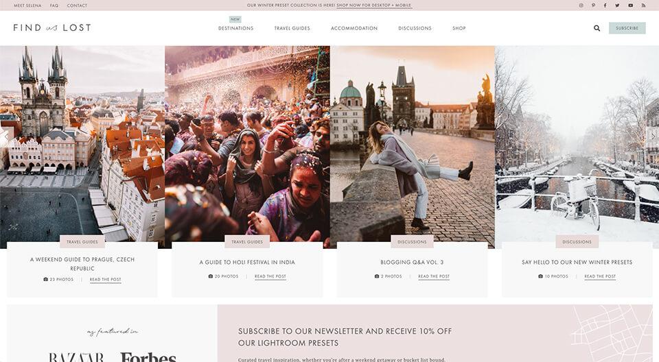 البحث عن لقطات شاشة الصفحة الرئيسية المفقودة (مثال على تصميم مدونة السفر)
